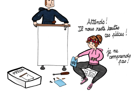 Monter un meuble Ikea, ce n'est pas facile / Illustration by Drawingsandthings