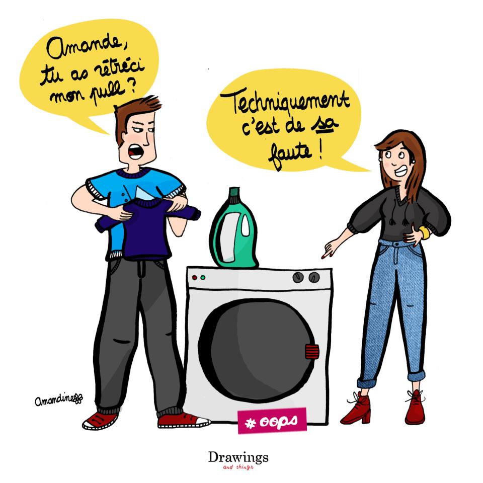 Moi et la machine à laver c'est toute une histoire - Illustration by Drawings and things