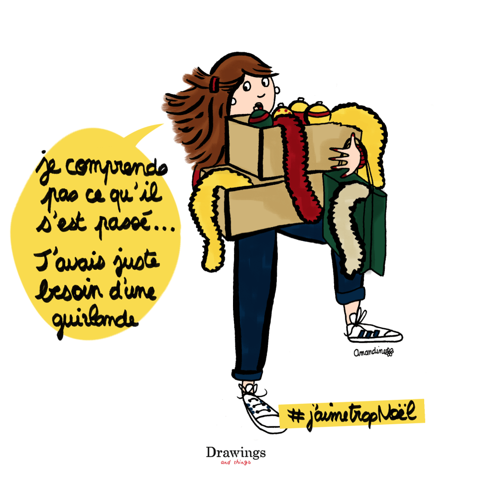 Faire les magasins pour son sapin de Noël - Illustration by Drawingsandthings