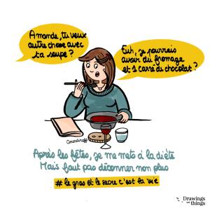 Après les fêtes, je me mets à la diète_ Illustration by Drawingsandthings, un blog lifestyle illustré