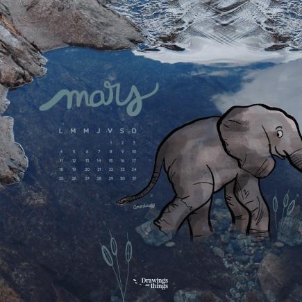 Téléchargez un fond d'écran gratuitement - Animal Elephant - Mars - Drawingsandthings