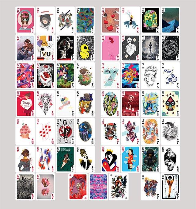 L'art à jouer - Jeu de Poker avec 55 artistes via le mouchoir - En vente via une campagne ULULE