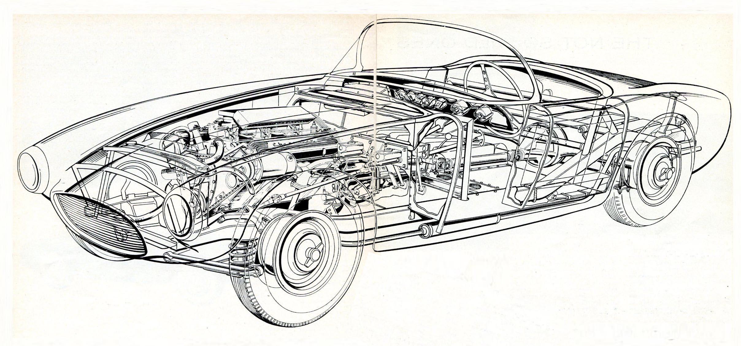 Car Engineering Drawing Pencil Sketch Colorful