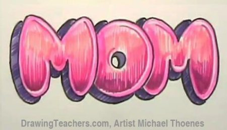 Draw Mom in Bubble Letters to further develop your graffiti style bubble letter design you can add an  outline to the entire design  Below you can see how this design was  outlined