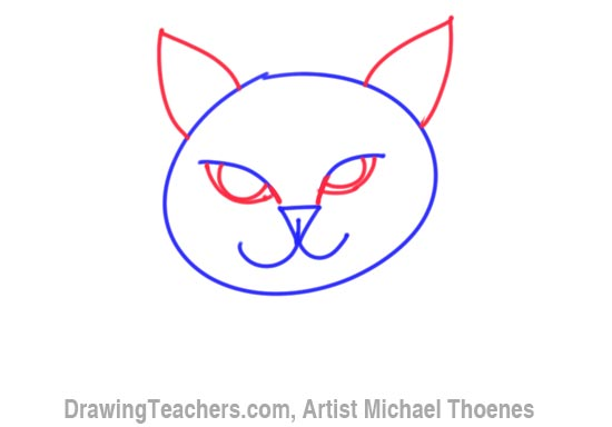 how to draw cat face step by step