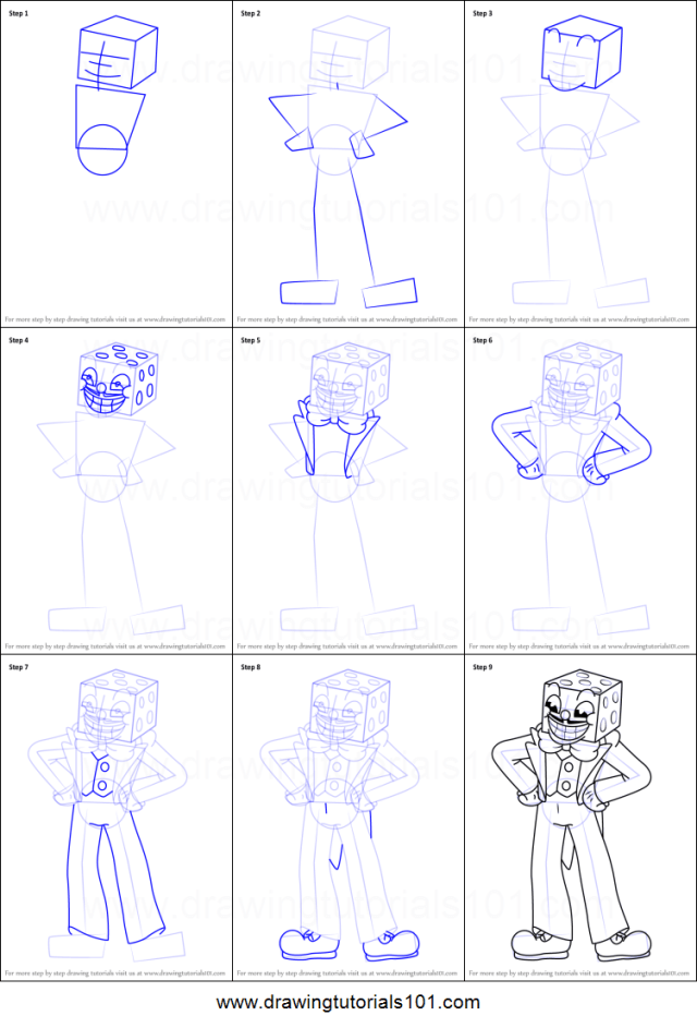 How to Draw King Dice from Cuphead printable step by step drawing