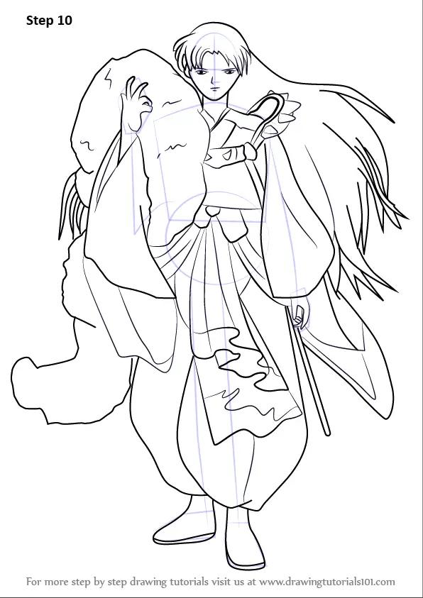 learn how to draw sesshomaru from inuyasha (inuyasha) step