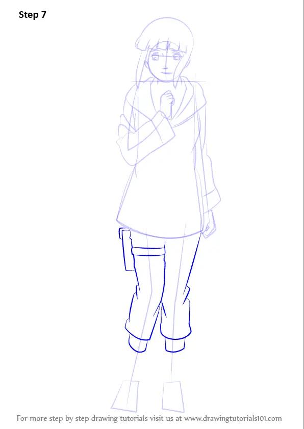 Learn How To Draw Hinata Hyuga From Naruto Naruto Step