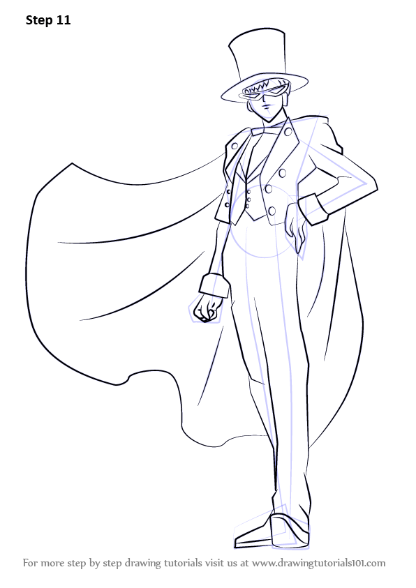 Step By Step How To Draw Tuxedo Mask From Sailor Moon