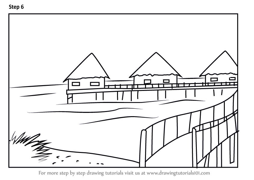 Learn How To Draw Beach Huts Beaches Step By Step