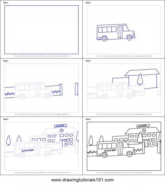 cara menggambar sekolah tk