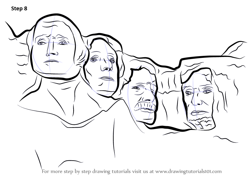 Learn How To Draw Mount Rushmore Statues Step By Step