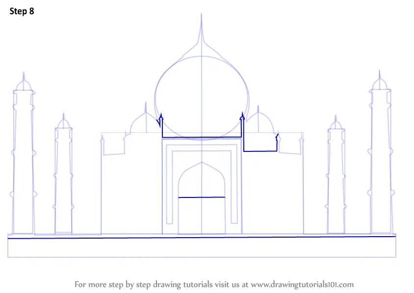 Step By Step How To Draw Taj Mahal