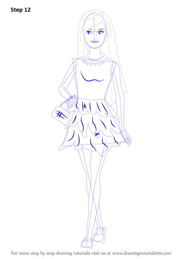 How To Draw Cute Barbie Doll - Free Coloring Page
