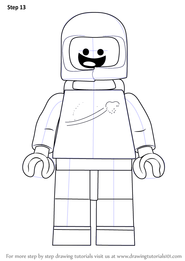 stepstep how to draw benny from the lego movie