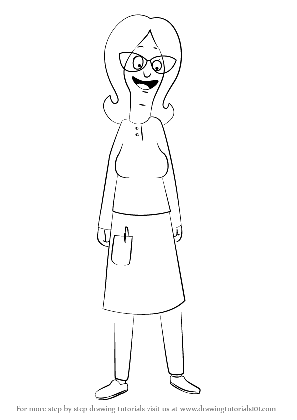stepstep how to draw linda belcher from bob's burgers