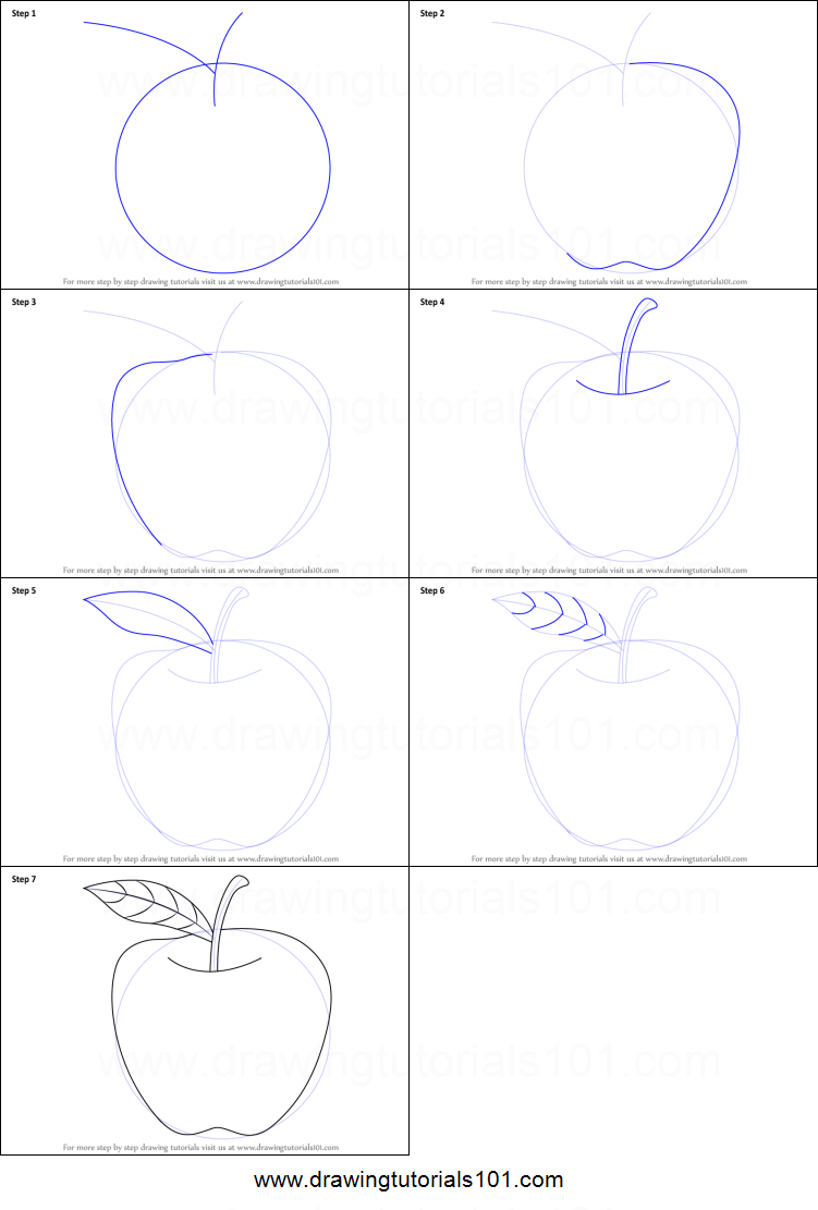 Fruits are hygiene for health. How to Draw an Apple for Kids printable step by step ...