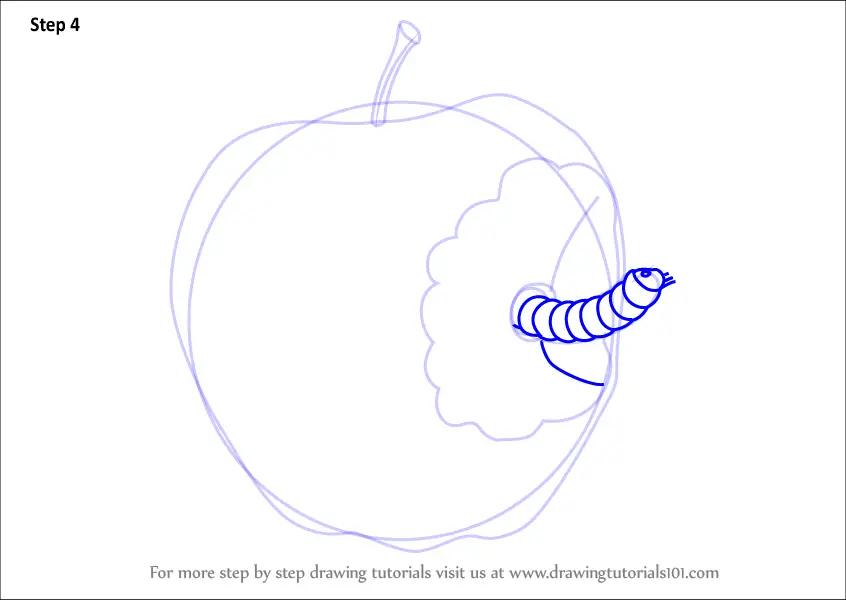 Easy Draw Apple Worm