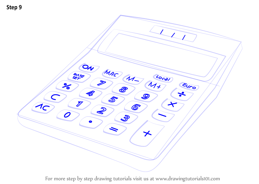 Learn How To Draw A Calculator Everyday Objects Step By