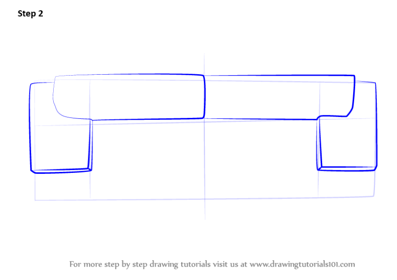 Step By How To Draw Sofa Couch Top View Drawingtutorials101 Com