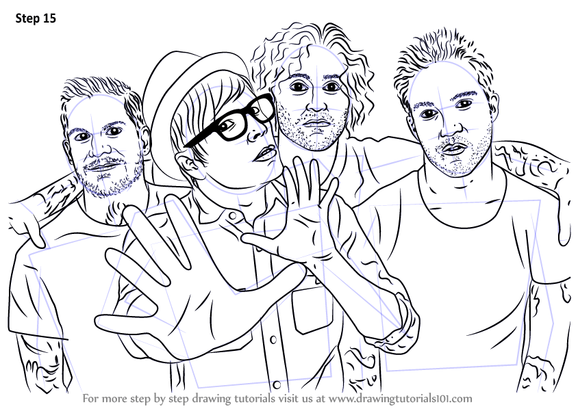 Learn How To Draw Fall Out Boy Musicians Step By Step