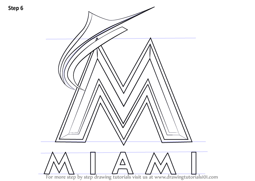 Learn How To Draw Miami Marlins Logo MLB Step By Step