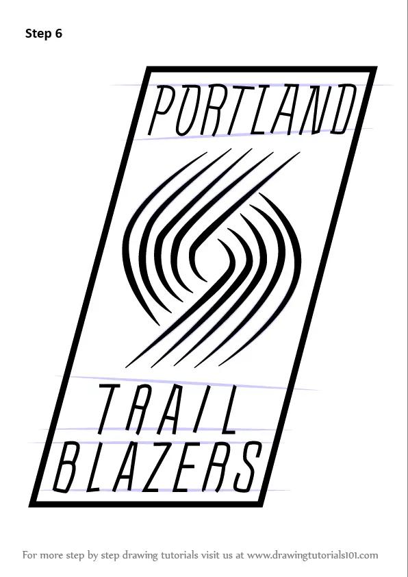 Learn How To Draw Portland Trail Blazers Logo Nba Step