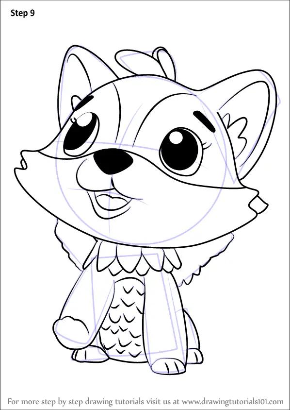 stepstep how to draw polar foxfin from hatchimals