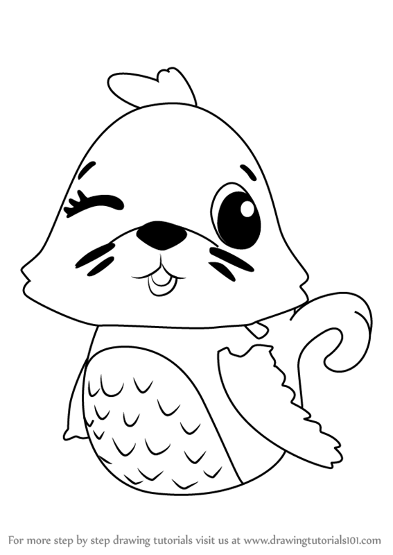 stepstep how to draw polar sealark from hatchimals