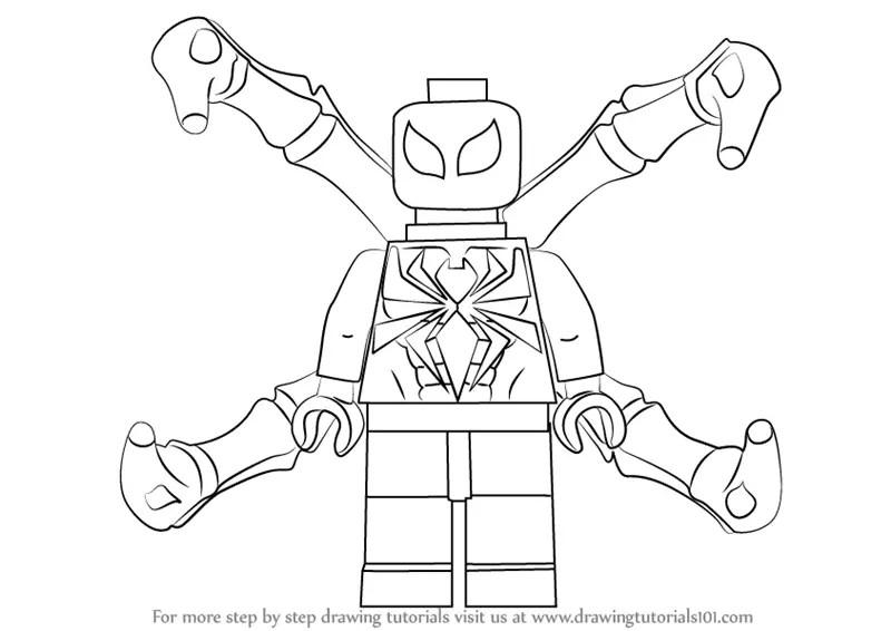 Una gran colección con páginas para colorear lego para los fanáticos de los juegos de lego. Learn How to Draw Lego Iron Spider (Lego) Step by Step
