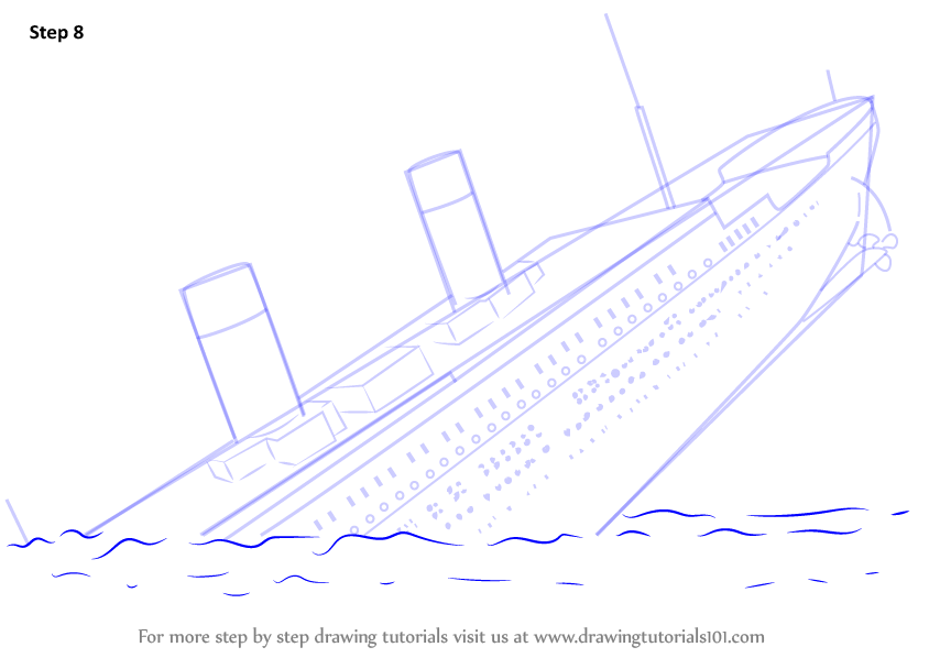 Learn How To Draw Titanic Sinking Boats And Ships Step