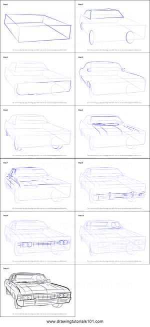How to Draw a 1967 Chevy Impala printable step by step