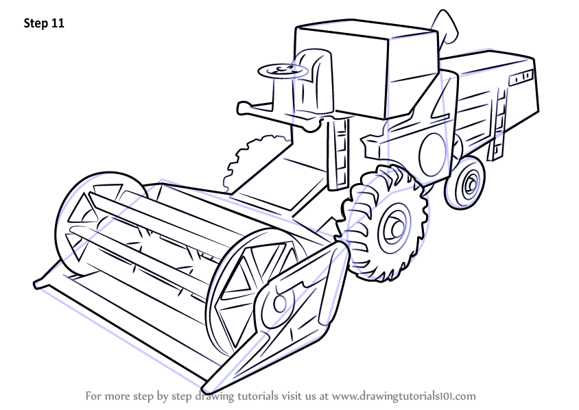 Step By Step How To Draw Combine Harvester