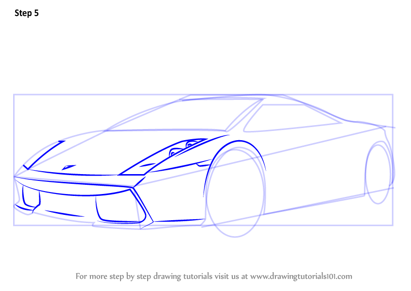 Learn How to Draw a Lamborghini Car (Sports Cars) Step by ...