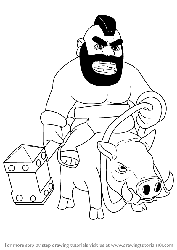 learn how to draw hog rider from clash of the clans (clash