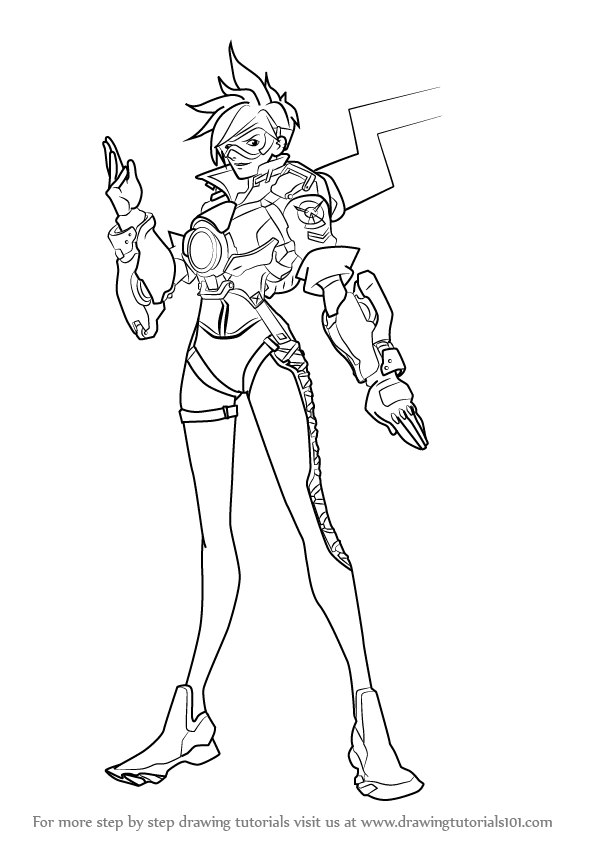 Learn How To Draw Tracer From Overwatch Overwatch Step