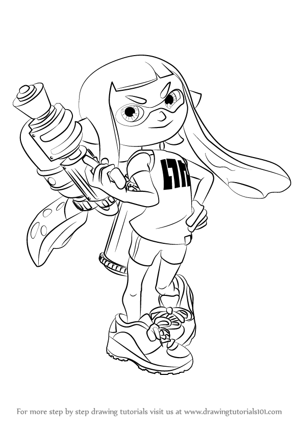 stepstep how to draw inkling female from splatoon