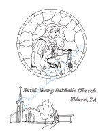 Coloring Page created for a Saint Mary Parish- Ink and digital touch up