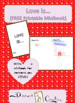 Love is... Minibook A printable, last minute, no craft supplies needed, gift for your loved one!