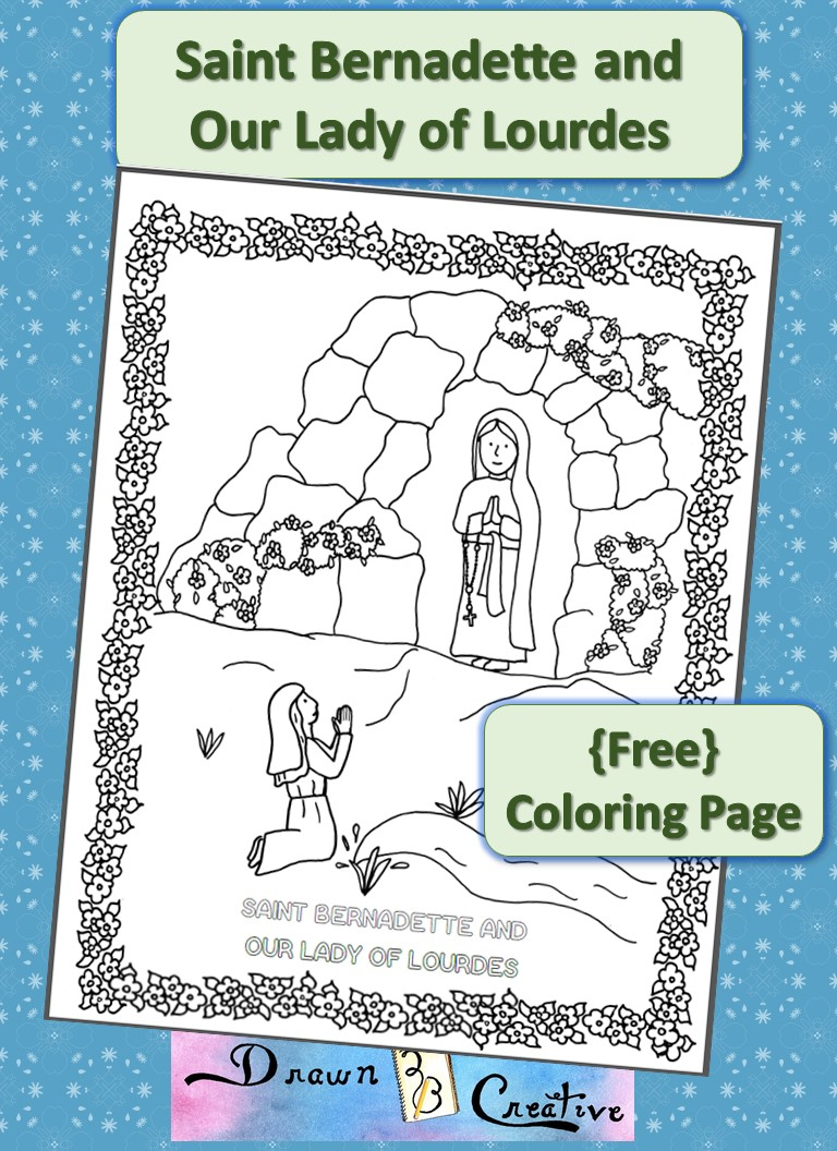 download the saint bernadette and our lady of lourdes coloring page