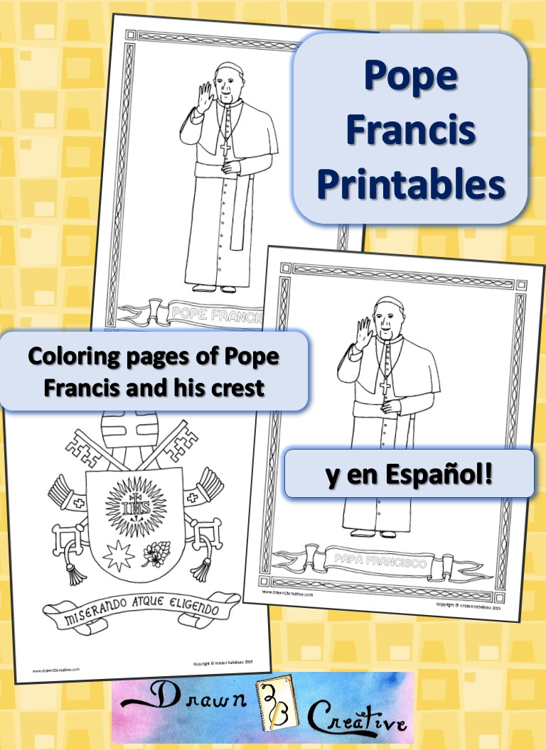 pope francis and crest coloring pages