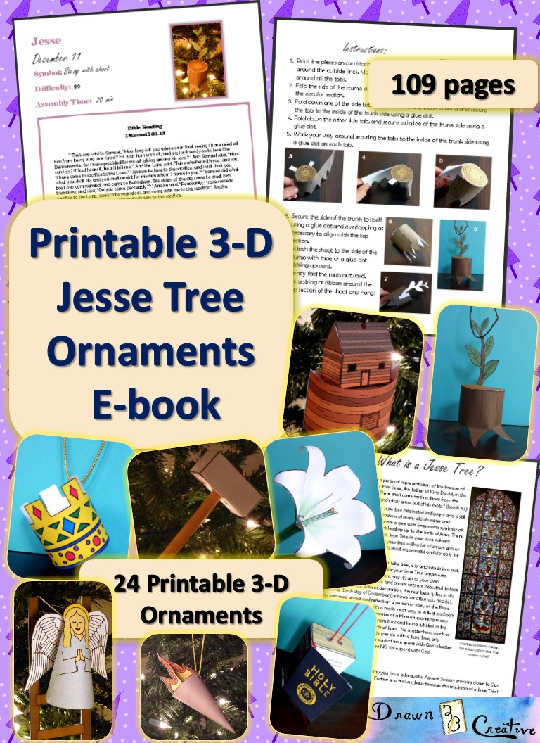 photo about Printable Jesse Tree Ornaments titled 3-D Printable Jesse Tree Ornaments e-guide