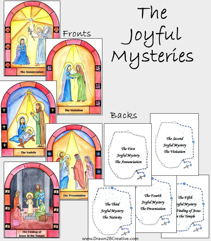 Printable watercolor mysteries of the rosary cards for Joyful mysteries coloring pages