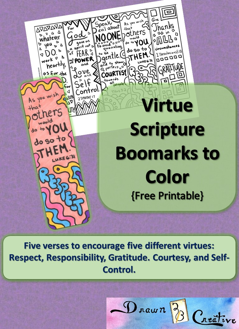 Free Printable Virtue Scripture Bookmarks To Color For
