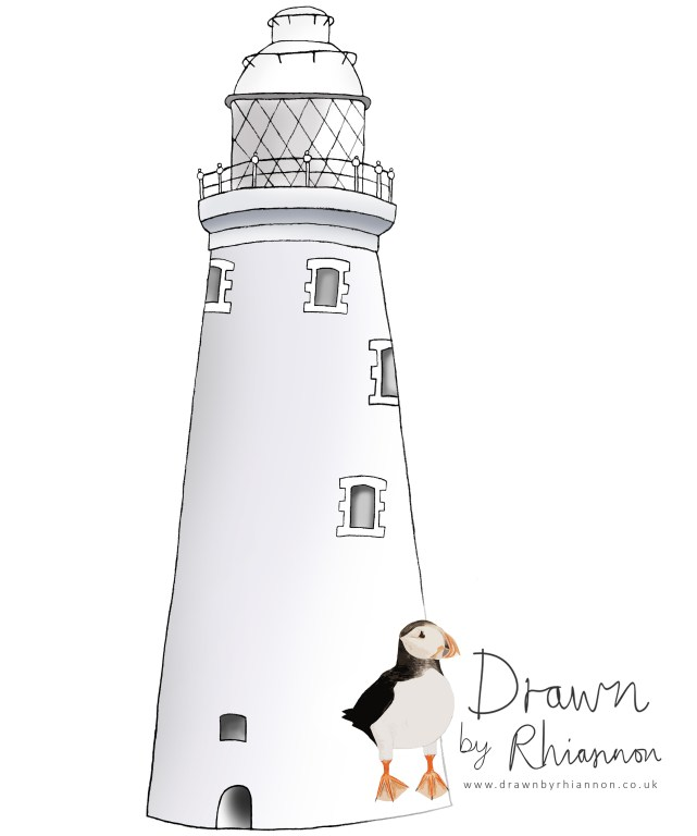 St. Mary's lighthouse coloured in