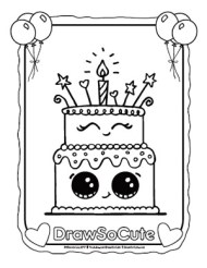 Birthday Cake Coloring Page Draw So Cute