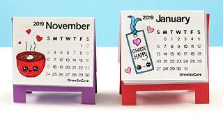 New 2019 Mini Calendar Draw So Cute
