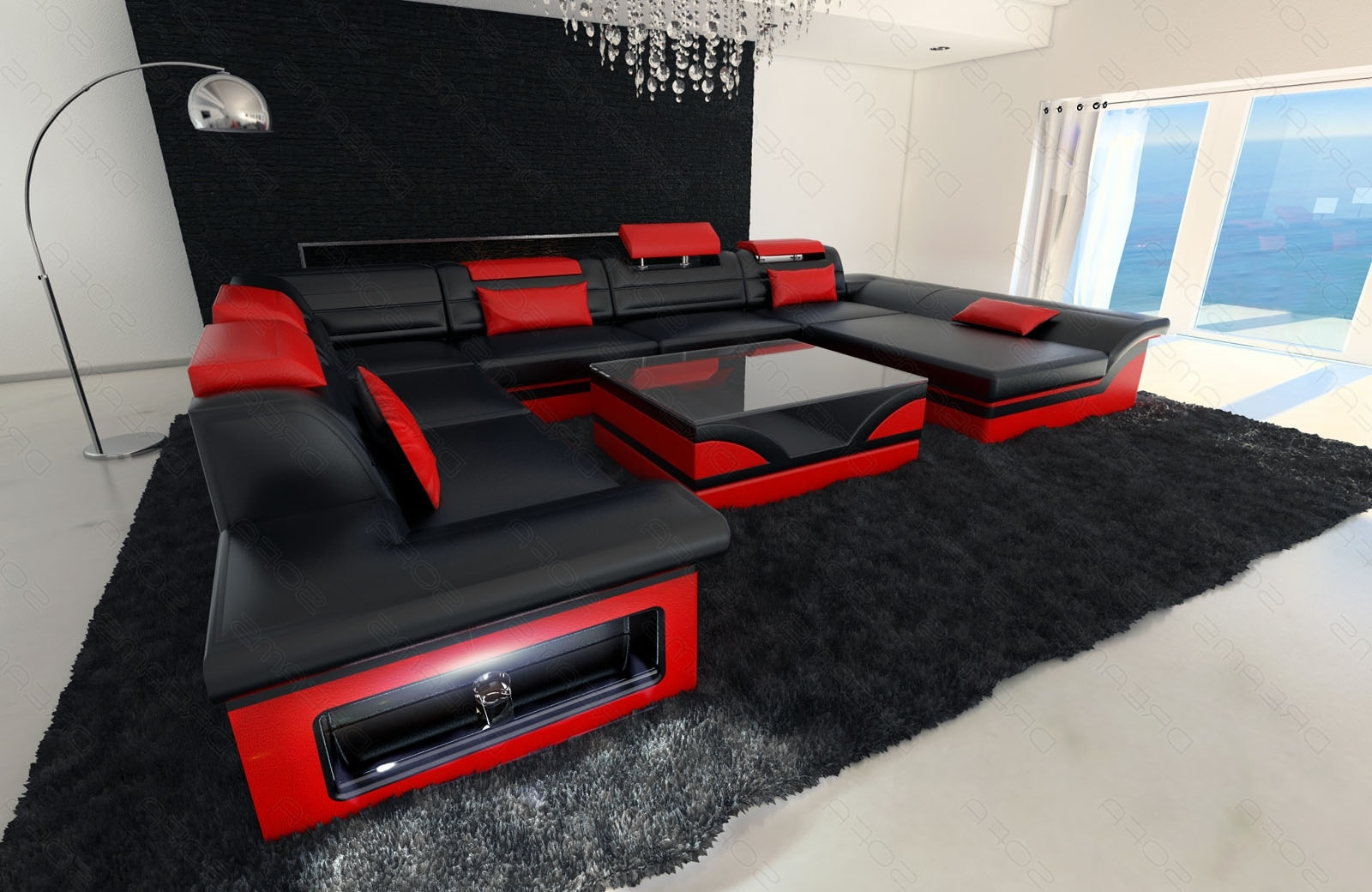 gallery of red black sectional sofas