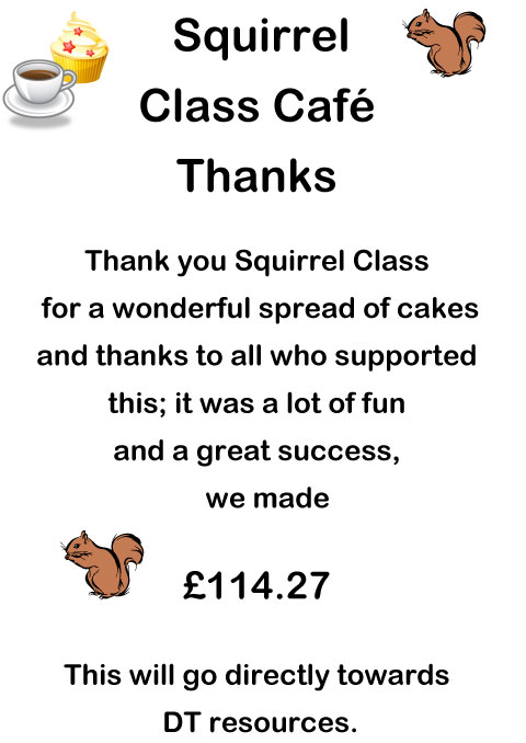 Squirrel Class Cafe Thanks