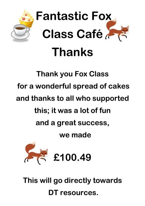 Fox Class Cake Sale Thank You